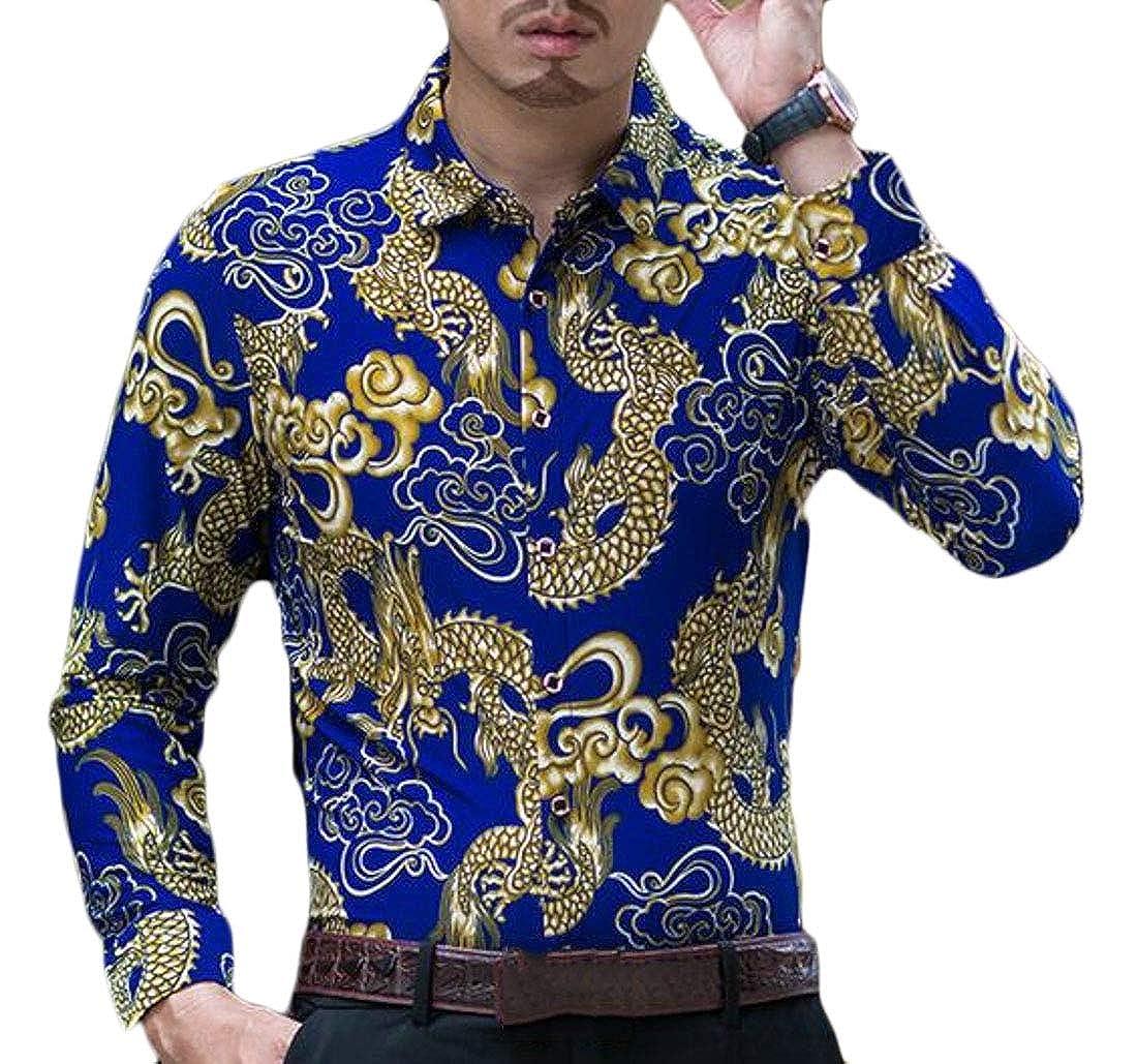 WSPLYSPJY Mens Classic Flower Casual Button Down Long Sleeve Shirt