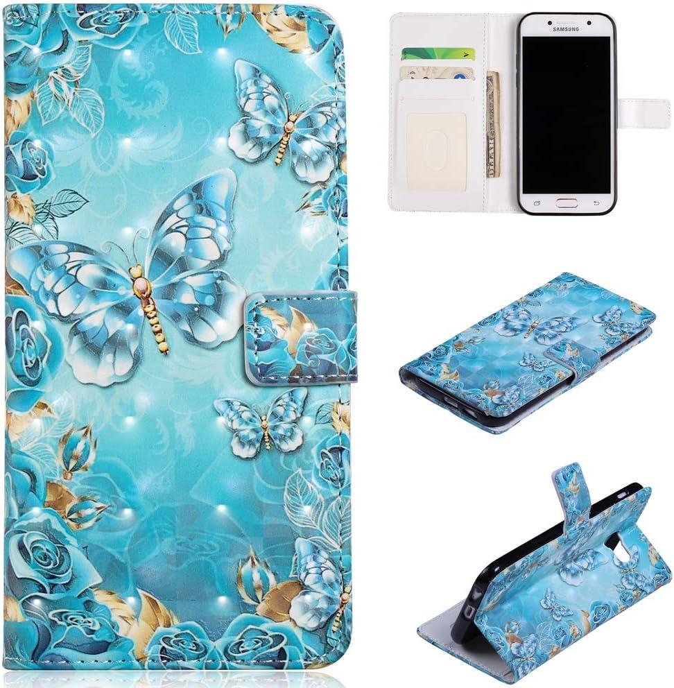 QFFUN Étui portefeuille et protecteur d'écran pour Samsung Galaxy A5 2017 Motif paillettes 3D [Papillon bleu] Étui de téléphone en cuir avec support ...