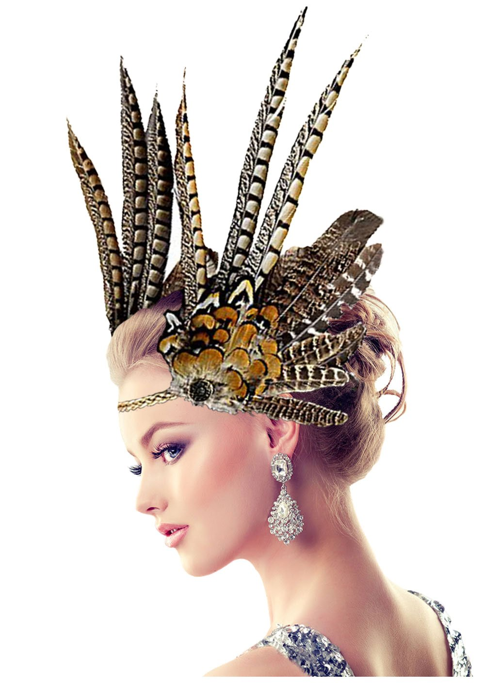 L'vow Indian Feather Headdress Hairband Headband for Halloween Cosplay Fancy Party
