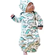 Newborn Baby Cartoon Dinosaur Sleep Gown Swaddle Sack Coming Home Outfit+Cap Size 0-3Months (White)