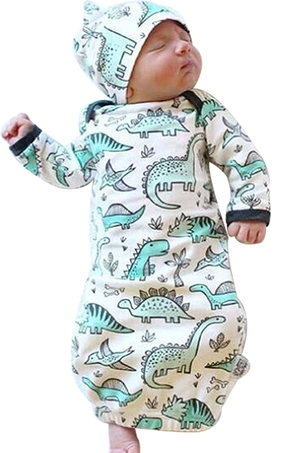 Newborn Baby Cartoon Dinosaur Sleep Gown Receiving Blankets Coming Home Outfit+Cap ELOVELY EY009-0/3M