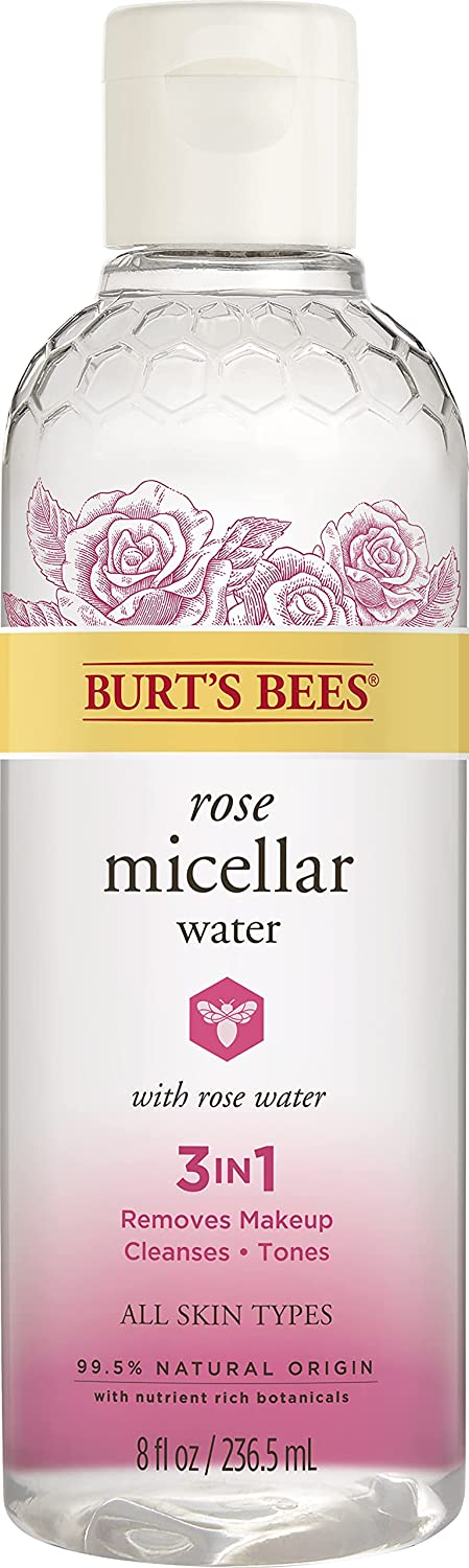 Burt's Bees Micellar Facial Cleansing Water with Rose Water, 8 Oz (Package May Vary)