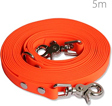 SNOOT 10m // 33ft long dog training lead with 2 hooks//Carabiner tracking and obedience dog leash Ideal for training neon orange training line water and dirt resistant with 2 carbiner hooks