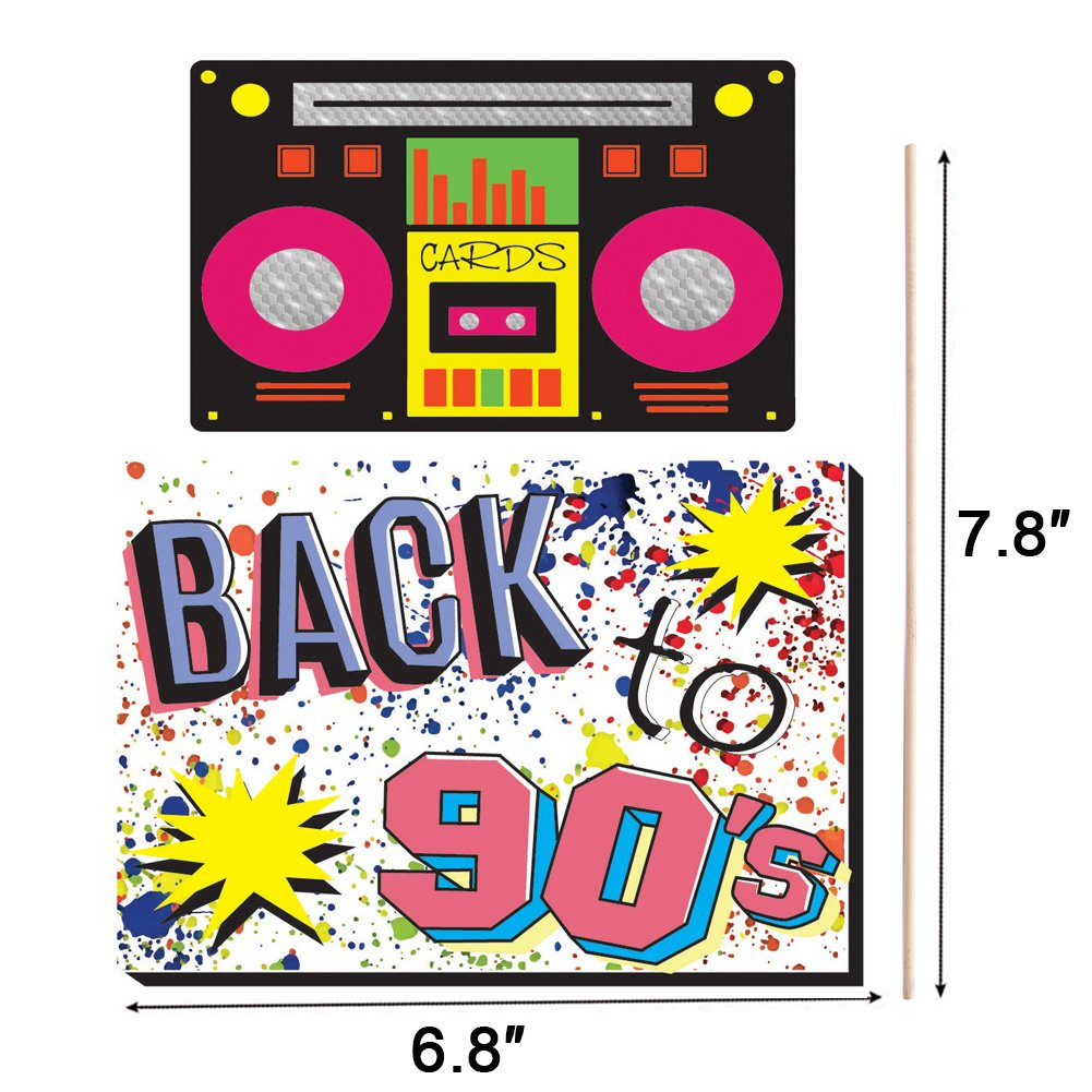 90's Throwback Party Decoration 1990s Party Photo Booth Props Kit 1990's Party Supplies- 37 Count by Hondar (Image #6)