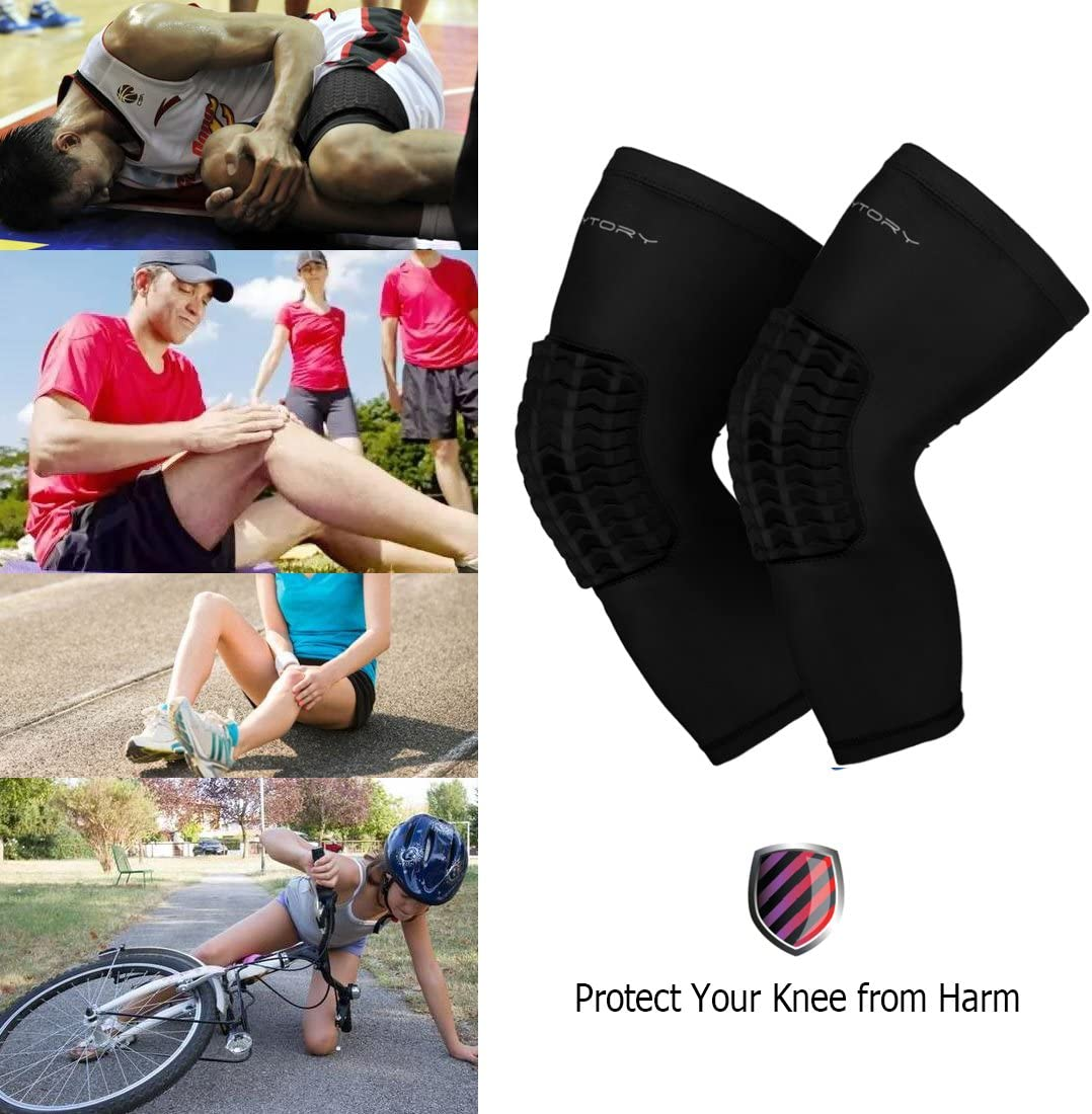 RoryTory Padded Compression Leg Sleeves Basketball Knee Pads Brace Support for Football Volleyball Baseball Soccer Tennis Sports Protection Sizes /& Designs for Men Women Girls Boys Youth Adult