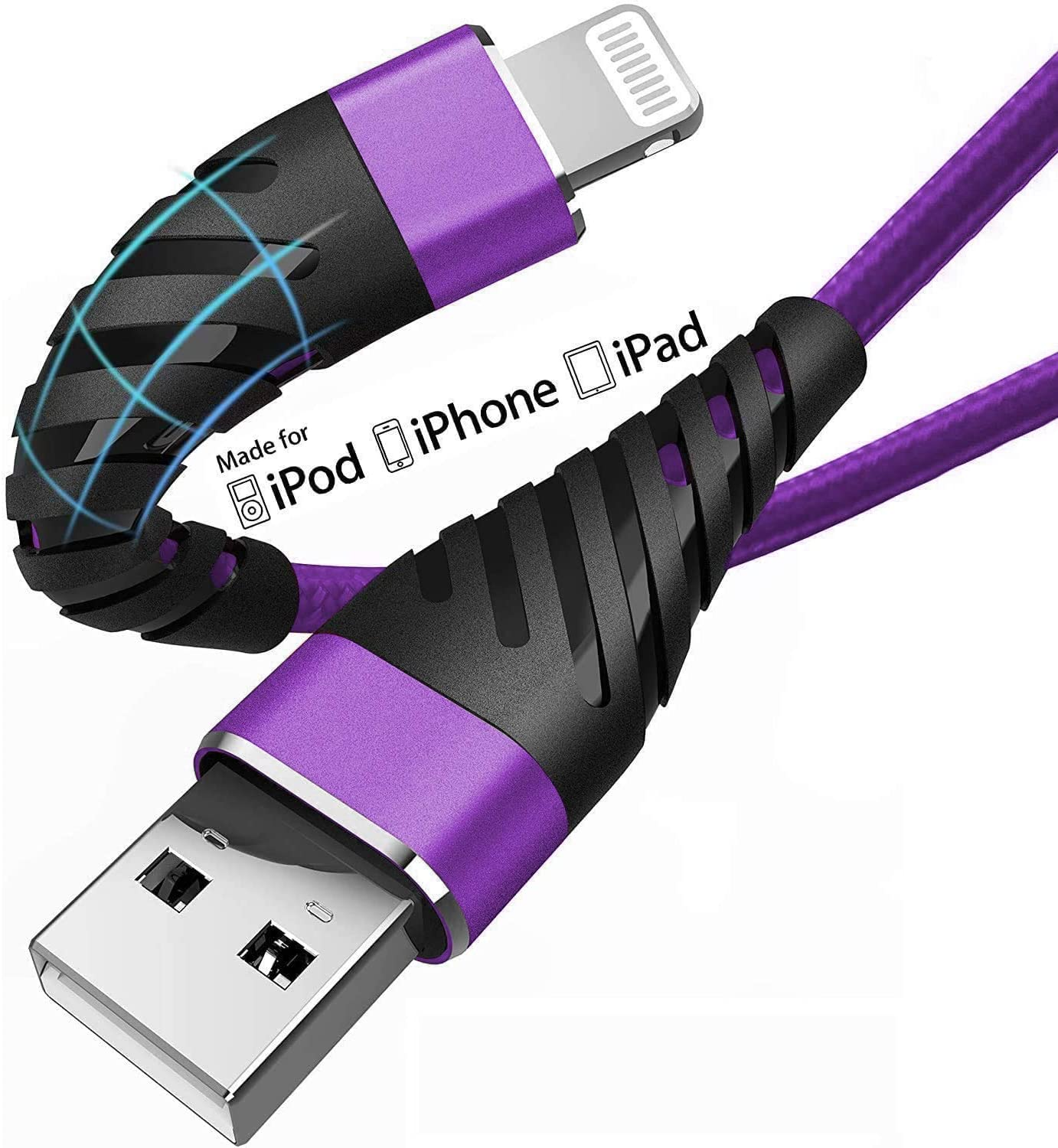 iPhone Charger Cable 6ft for [Apple MFi Certified],(2 Pack) CyvenSmart 6 Foot Lightning Cable Fast Charging Cord 6 Feet for iPhone 11/11 Pro/11 Pro Max/XS/XS Max/XR/X/8/8 Plus/7/7 Plus-Purple