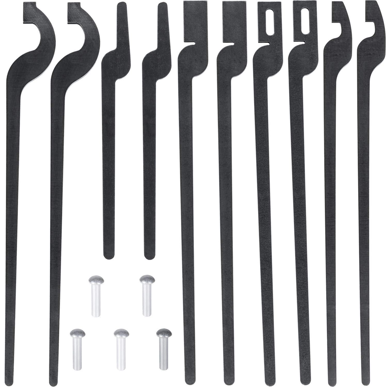 E-cowlboy Five types of Tongs Bundle Set with Rivet Rapid Bolt,Flat Jaw, Slot Jaw, V-Bit &Scroll Tongs Blacksmith by E-cowlboy