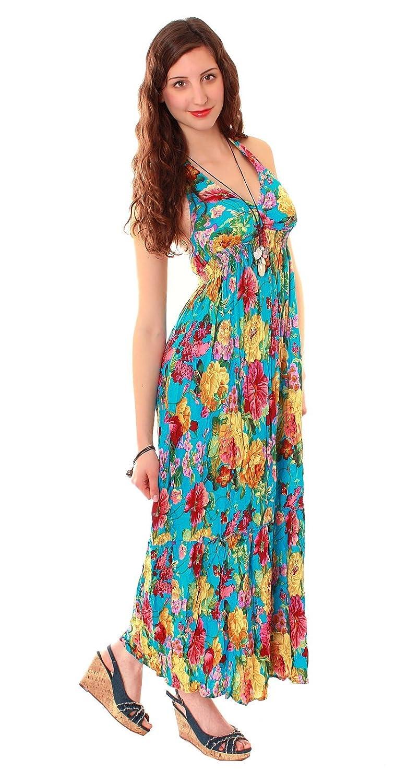 Damen Sommer Hippie Boho Maxikleid Neckholder geblümt in verschieden Farben