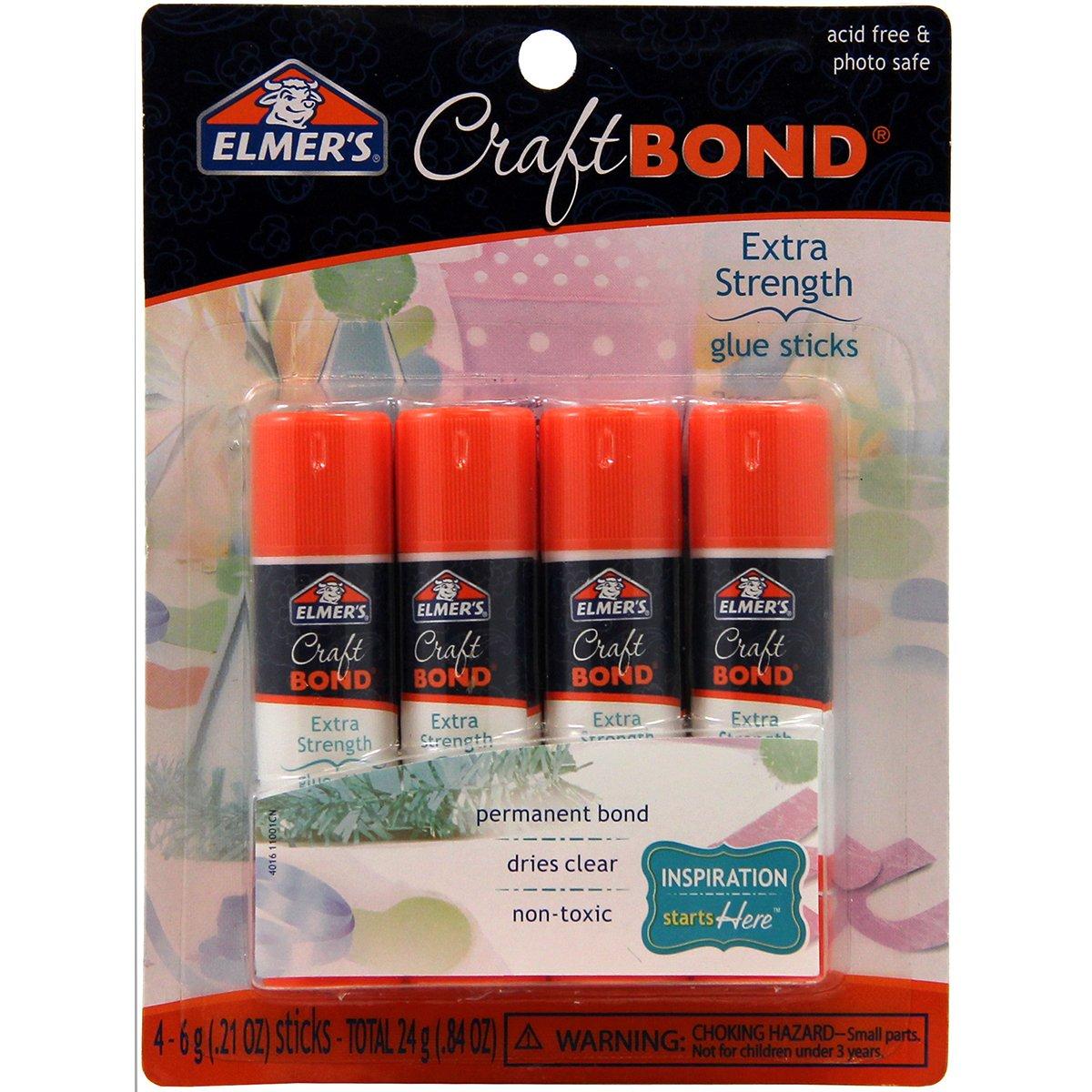 Elmer's CraftBond Extra Strength Glue Sticks, 0.21 Ounces, 4 Count