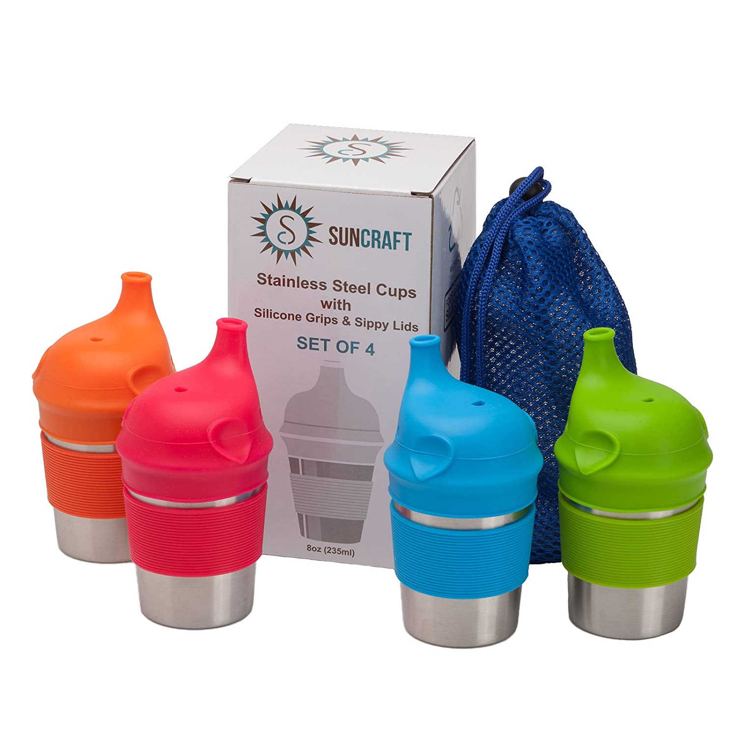 SunCraft Stainless Steel Cups with Silicone Sippy Lids & Grips for Kids Toddlers Babies (8oz, 4-Pack) BPA Free & Lab-Tested – Portable Carrying Pouch Included