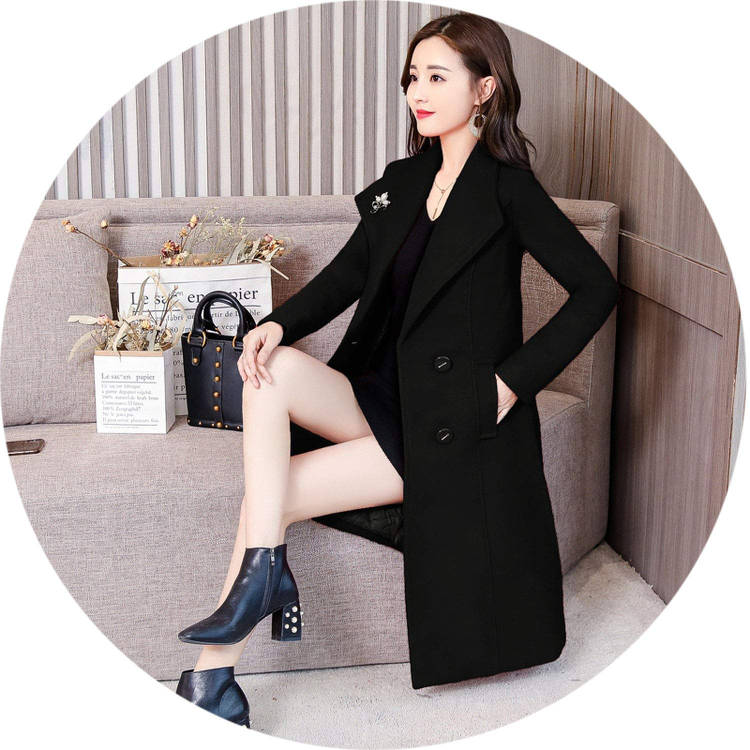 Black Women 2018 Fashion Long Woolen Overcoat Oversized Loose Coat