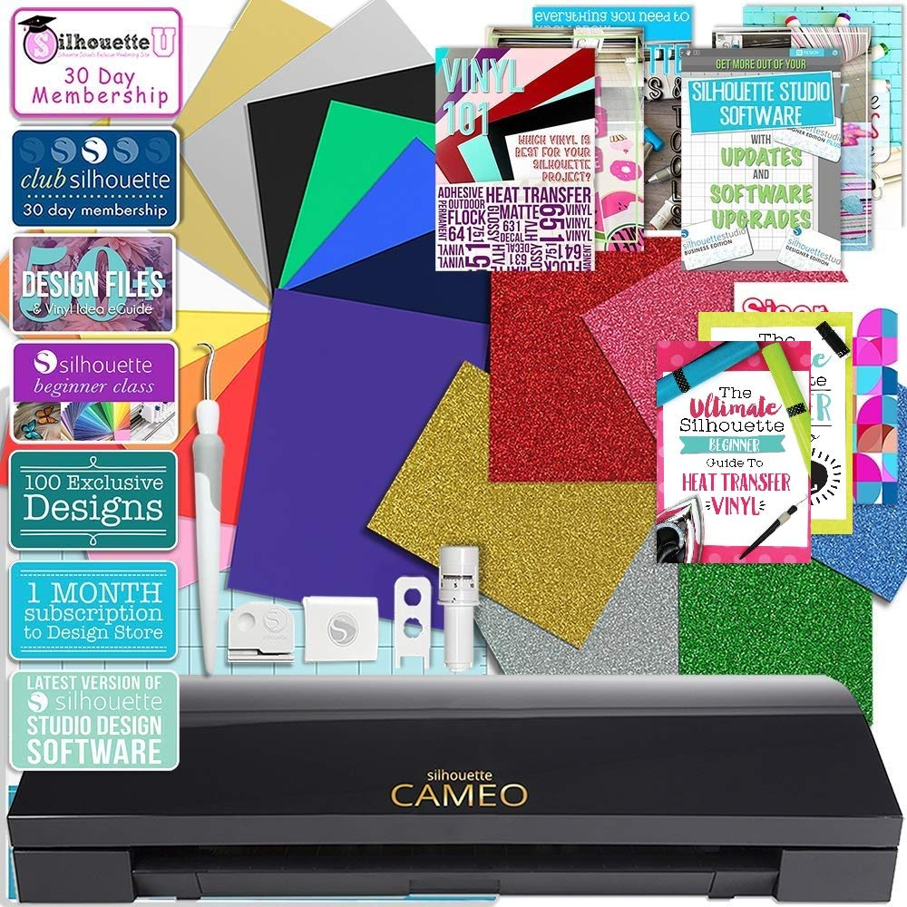 Silhouette Black Cameo 3 Bluetooth Heat Transfer T-Shirt Vinyl Bundle with Siser Vinyl, Swatch Book, Guides, Class and Membership
