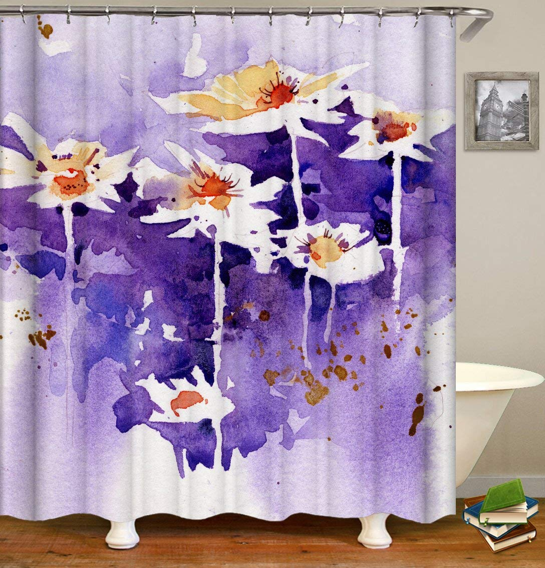 LIVILAN Watercolor Shower Curtain Set, Abstract Flowers Print Bath Curtain,Thick Polyester Fabric,Waterproof Machine Washable, 72 x 72 inch, Light Purple