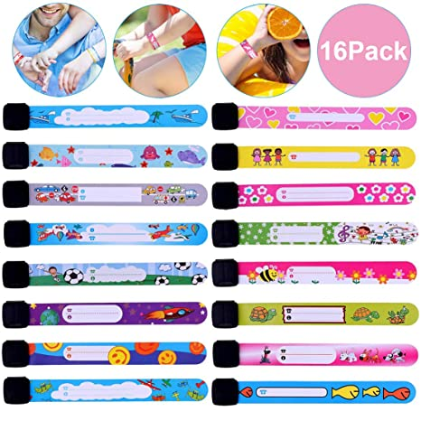 Nabance 12PCS Safety Wristband for Children Safety ID Wristband Reusable and Waterproof Child ID Bracelet Band