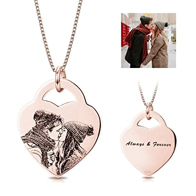 LONAGO Personalized Photo Necklace Heart Custom Pendant Engraved Any Name  Word for Women (Heart- 3ac2422b86