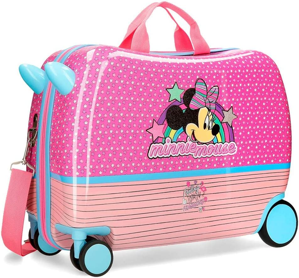 Disney Maleta infantil Minnie Pink Vibes con ruedas multidireccionales, Rosa