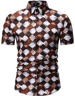 Heless Mens Formal Printed Regular Fit Lapel Long Sleeve Button Down Dress Work Shirt