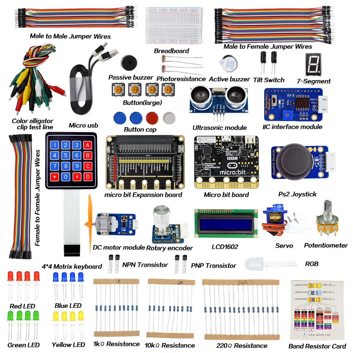 Adeept BBC Micro:bit Starter Kit | Electronic microbit Starter Kit for Micro:bit with 31 Projects Tutorial Book(PDF)