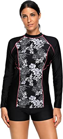Maketina Womens Floral Print Long Sleeve Rashguard Swimwear Athletic Top Sun Guard UPF 50+