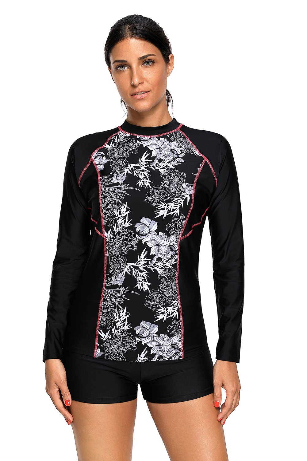 Bdcoco Women's Floral Print Long Sleeve Surfing Two Piece Swimsuit Rash Guards
