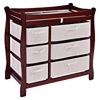 Costzon Baby Changing Table, Infant Diaper Changing Table Organization, Newborn Nursery Station with Pad, Sleigh Style Nursery Dresser Changing Table with Hamper/ 6 Baskets (Wine)