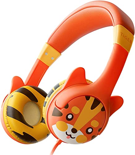 Kidrox Tiger-Ear Kids Headphones Boys Girls – Wired Toddler Headphones for School, 85dB Volume Limited, Adjustable Headband, Tangle Free Cable, Cute Design, Small Orange Children Headphones On Ear