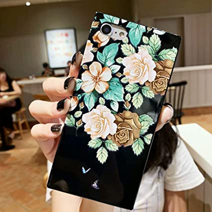 Iphone 6s Flower Case Tzomsze Square Case Iphone 6 Clear Shiny Reinforced Corners Tpu Cushion Soft Colorful Rose Floral Pattern Design Cute Slim Tpu