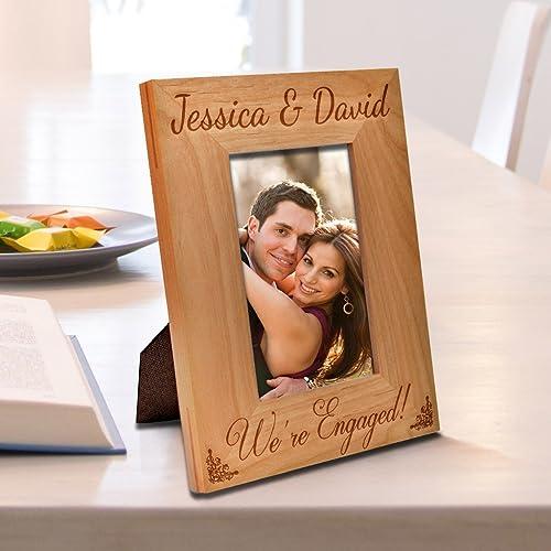 Amazon.com: Be Burgundy - Personalized We\'re Engaged Photo Frame ...