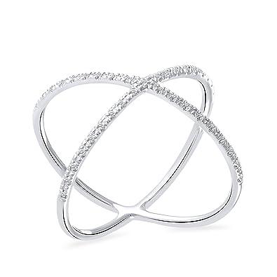 Amazon Com 0 08 Ct Round Natural Diamond Criss Cross Wedding Band