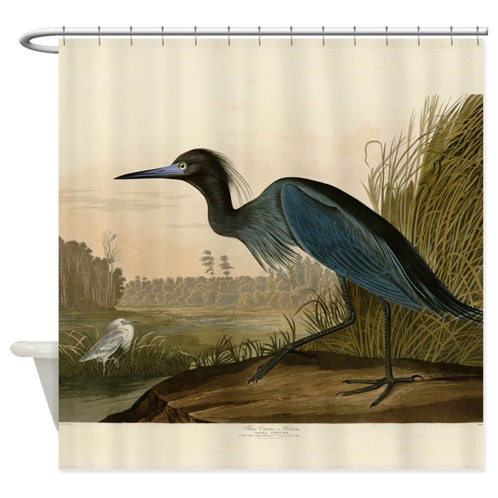 CafePress Audubon Blue Crane Heron from Birds of America Sho Decorative Fabric Shower Curtain (69''x70'')