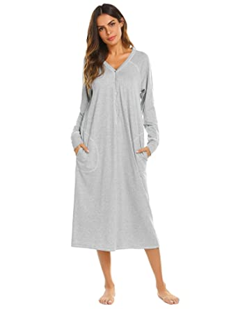 7ccf68ab7e Adoeve Ultra-Soft Full Length Sleep Dress Women s Nightshirt Long Sleeve  Nightgown S-XXL at Amazon Women s Clothing store