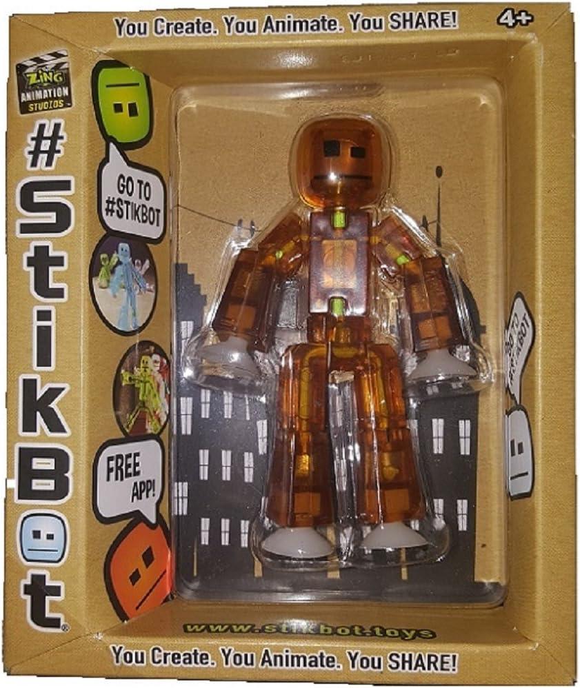 Stikbot Translucent Brown Action Figure Amber Animation Toy Social Media Skitbot Stick Bot