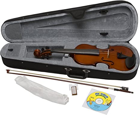 5 Sizes Available Straps Full Size Violin Rosin Bow eMedia My Violin Starter Pack for Kids and Strings Case EV05165 Polishing Cloth - Includes Violin Lesson Software Chalk