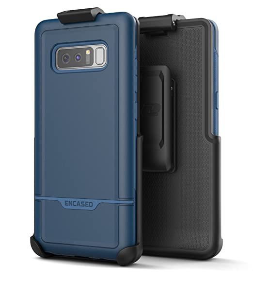 size 40 813c0 b4b44 Encased Heavy Duty Belt Case for Samsung Galaxy Note 8 - Rugged Rebel  Series Impact Armor with Holster Clip (Military Grade Drop Protection) Blue