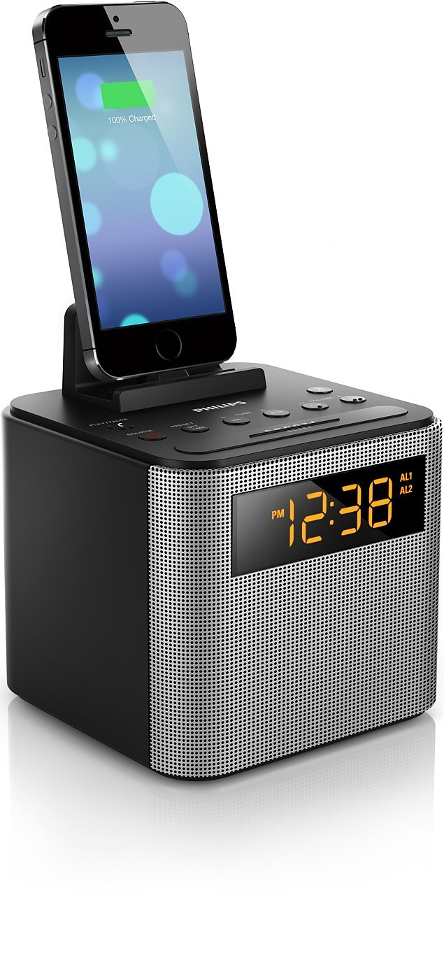 Philips AJT3300/37 Bluetooth Dual Alarm Clock Radio iPhone/Android Speaker Dock Speakerphone Microphone (Black)