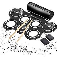 Elektronisches Schlagzeug E-drum Kit Roll Up Eingebaute Lautsprecher MIDI Elektronische Trommel mit Silikon Pad Perkussion Pedalen Sticks USB 3,5mm Audiokabel Geschenk für Kinder