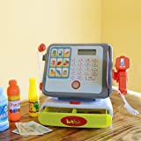 Tech 4 Kids Kidstech Supermarket Multi Functional Kids Play Cash Register with Lights and Sound, Scanner, Credit Card, Working Mic, and Playfood