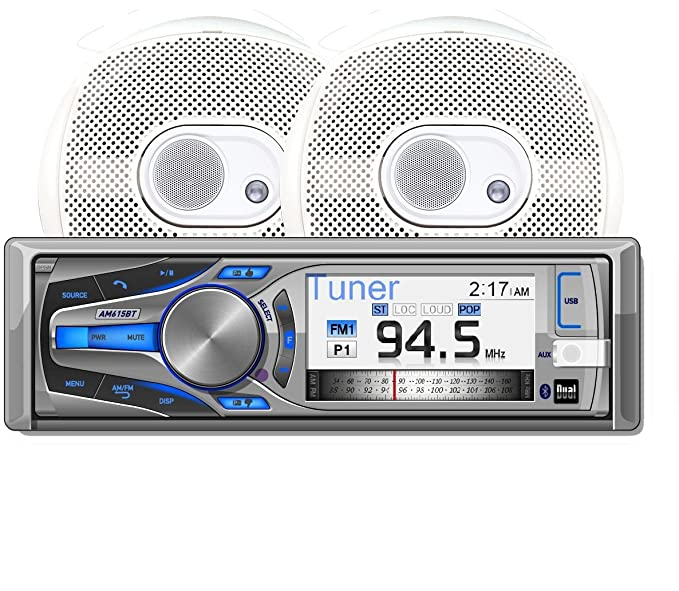 Dual AMCP615BT Marine Stereo CD Receiver with 3-Inch Color LCD and  Bluetooth, Includes Two Pairs of 6 5-Inch Speakers