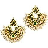 Ameeyo Green-Golden Metal Dangle & Drop Earrings for Women