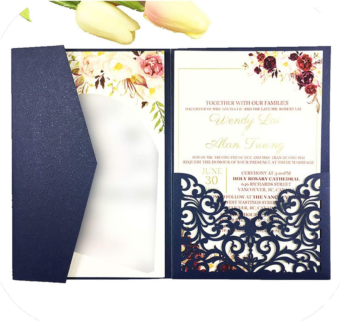 Amazon.com: 50pcs/lot Halloween Trifold Card pocketfold Wedding Invitation  Cards Three fold Pocket Laser Cut Invite Greeting Covers Party,Dark Navy  Blue,Blank one Page Inner: Health & Personal Care
