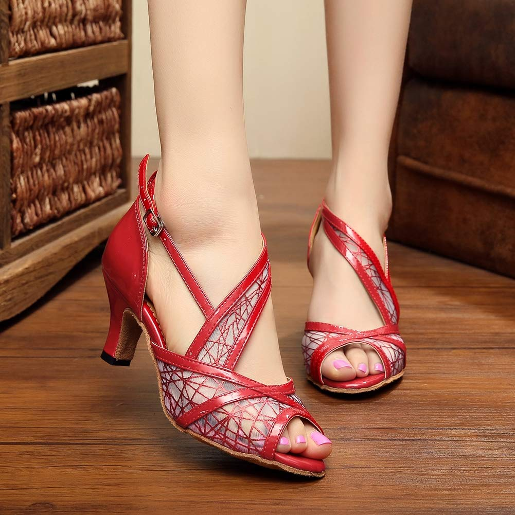 XIAOY Leder PU Kreuz Gurt Peep Toe High Heel Heel Heel Latein Tanzschuhe für Damen 8.5CM B07MV31J1V Tanzschuhe Kunde zuerst 06fe52