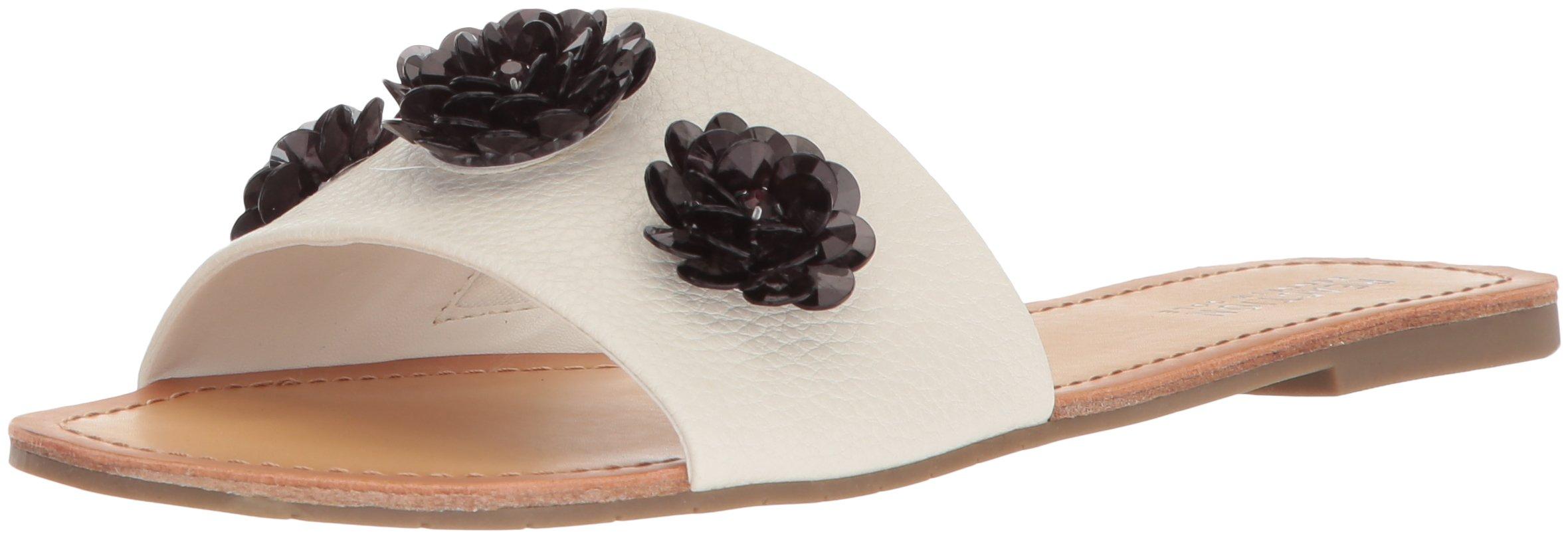 Kenneth Cole REACTION Women's Just Enough Slip on Slide Flower Gems Flat Sandal, Stone, 8.5 M US