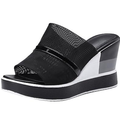 bf0061719a12e AIYOUMEI Damen High Heels Pantoletten mit Keilabsatz Mules Peeptoe Schuhe  Pantoffeln Mesh Sandalen