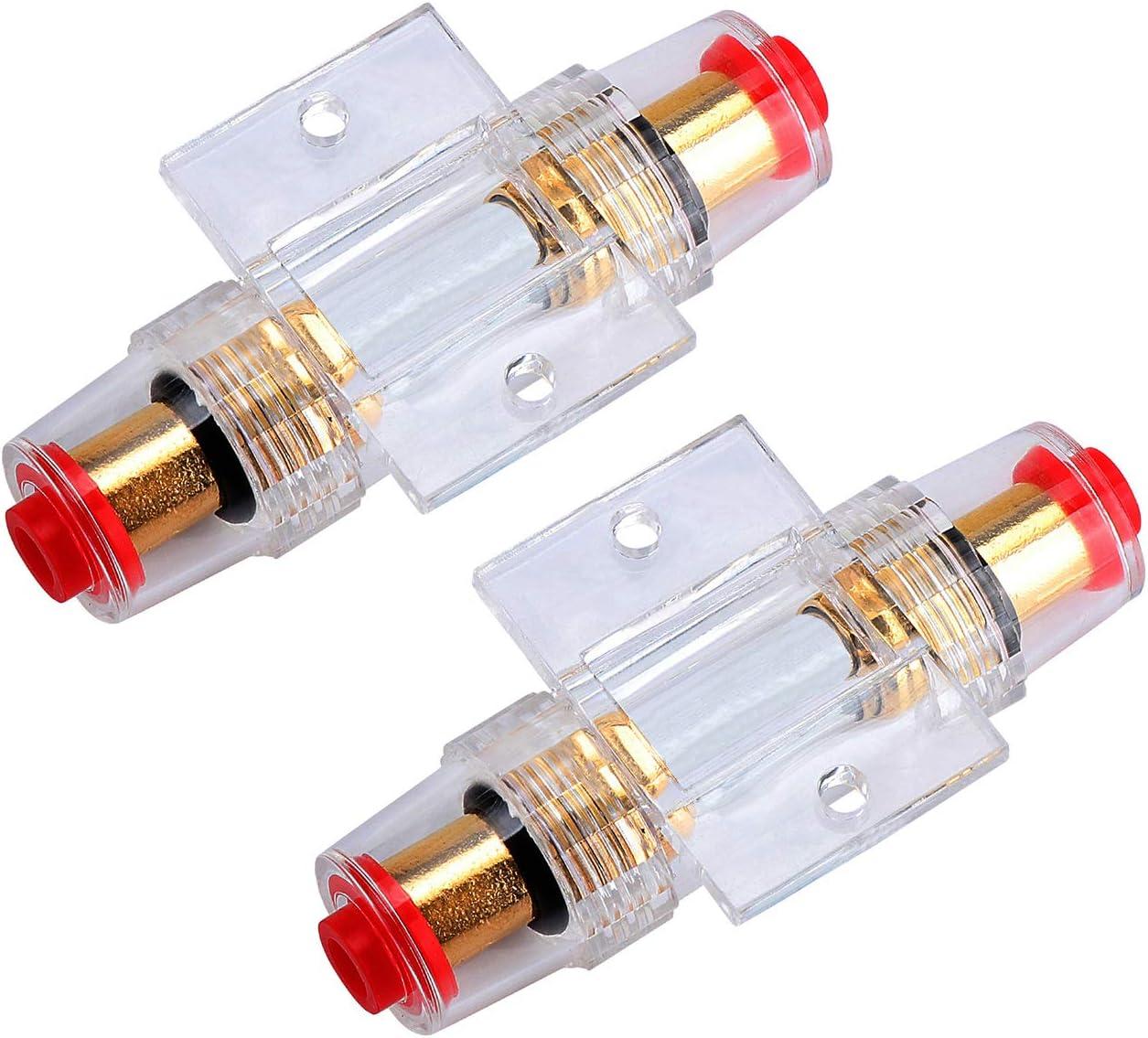 Kyrio 2pcs Agu Inline Sicherungshalter Mit 60a Agu Sicherungen Für Auto Alarmverstärker Kompressoren Auto