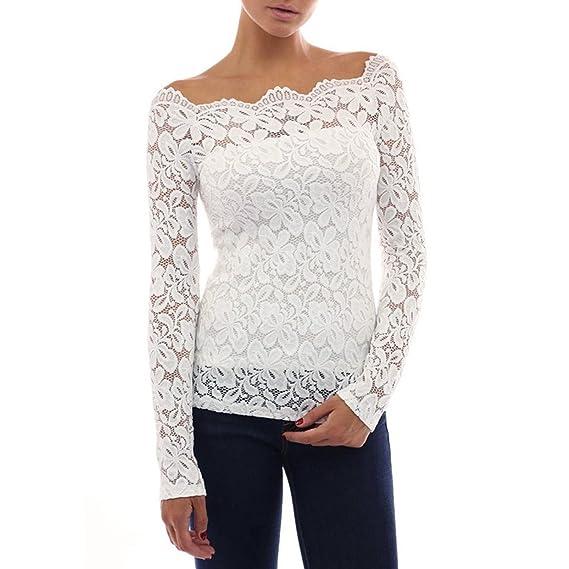 EUzeo_Mujer Camiseta Manga Larga Blusas de Encaje Flores Lace Crochet Sin Tirantes Camisas Shoulder Off Lace
