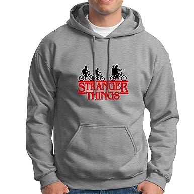 JEMASHOP Sudadera con Capucha Gris Stranger Things. Logo Rojo Y Negro. Bicicletas (XS