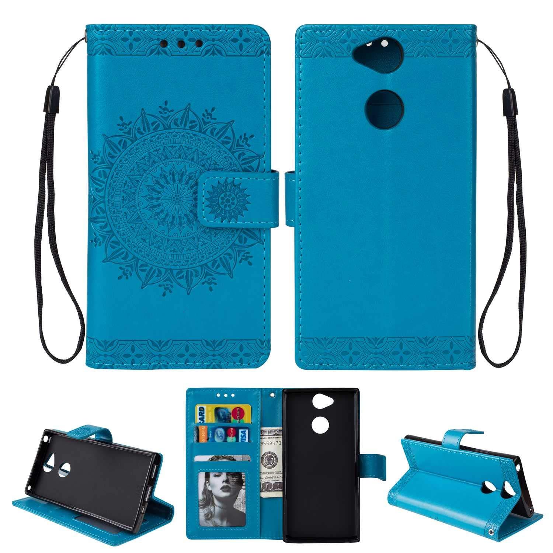 HCUI Compatible avec Sony Xperia XA2 Coque Cuir Étui Wallet Housse, Portefeuille de Protection Coque avec Fonction Support Magnétique Pochette Antichoc Coque pour Sony Xperia XA2 - Bleu.