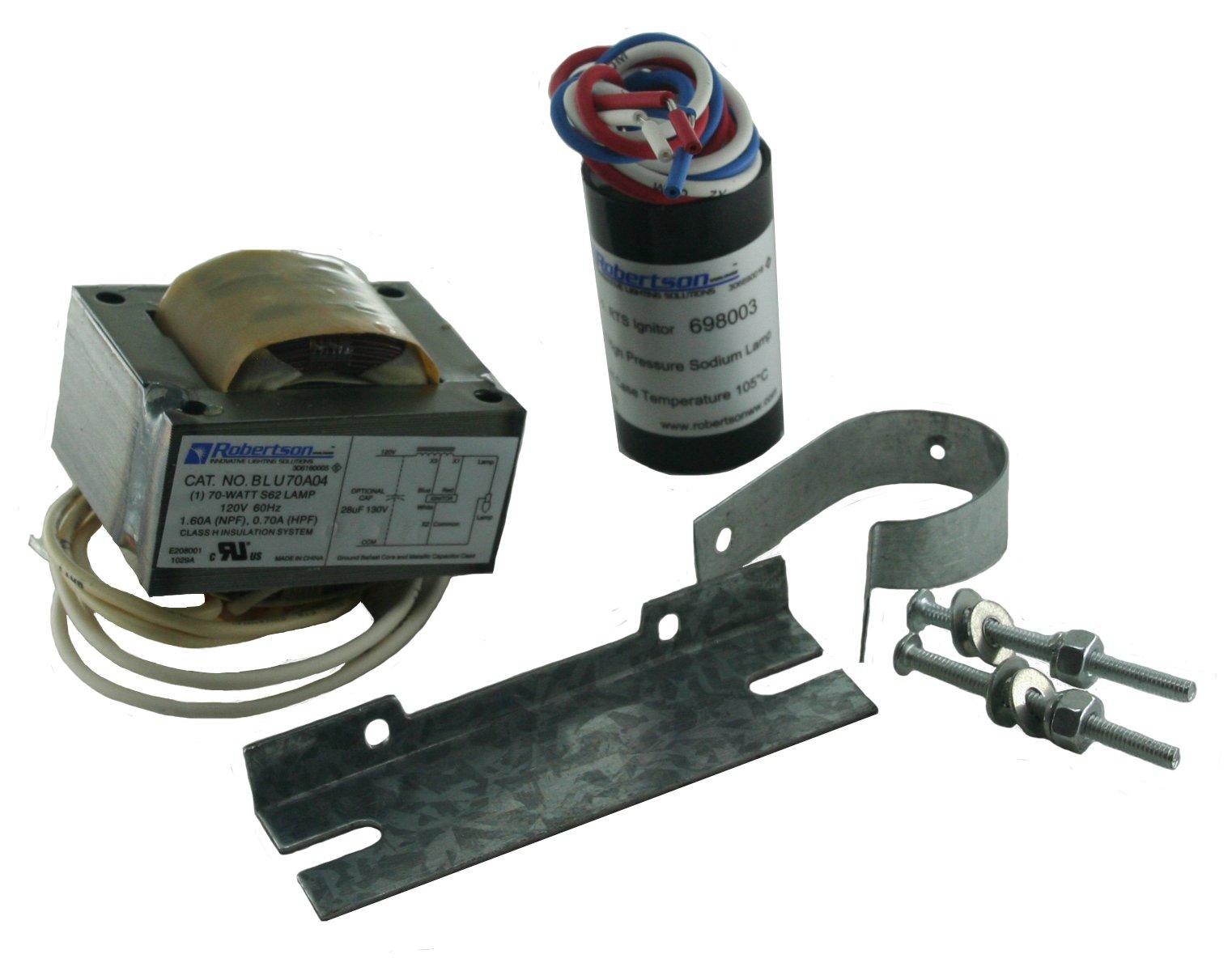 ROBERTSON 3P10058 Individual mHID, 70 Watt, S62 High Pressure Sodium Lamp, 120Vac., 60Hz, Normal Ballast Factor, NPF, Model BLU0070A04900 M (Replaces Model BLU070A04900)