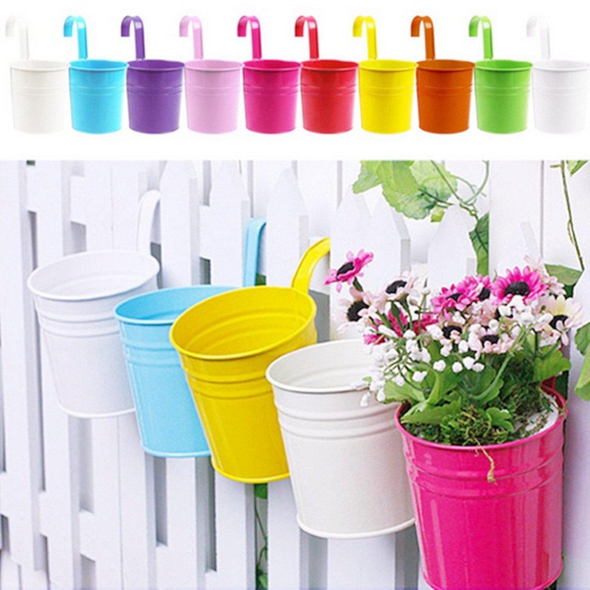 10 Pcs Pot /à Suspendre KING DO WAY 10 Pcs Pot /à Suspendre en Fer 10 Couleurs Pot Mural de Fleur Plante D/éco Balcon Jardin