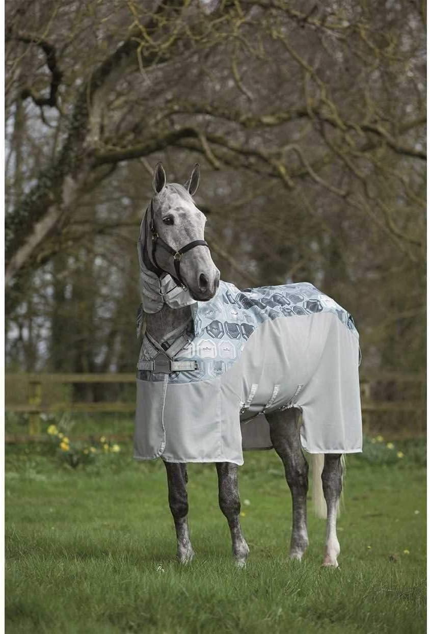 Silver Dark Grey Blue Aqua Amigo Vamoose Evolution Unisex Horse Rug Fly